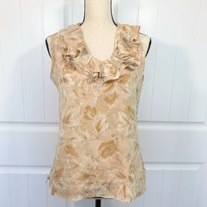 Talbot silk print top with ruffles